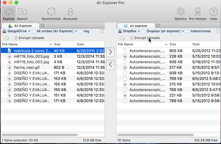 Air Explorer for Mac Interface