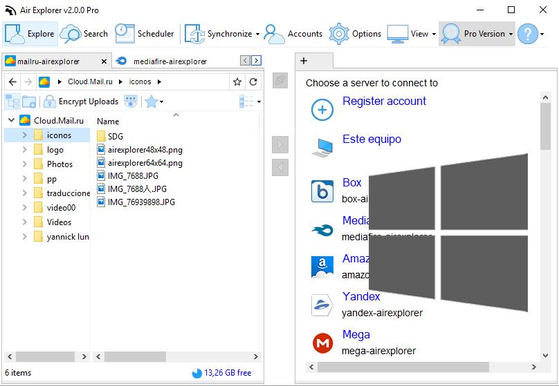 Air Explorer Windows で利用可能