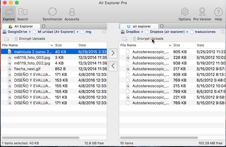 Air Explorer for Mac Interface